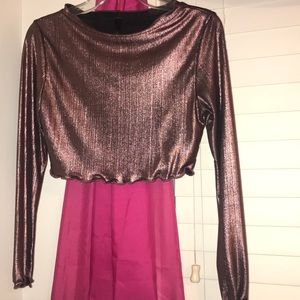Pink Metallic fitted Crop Top